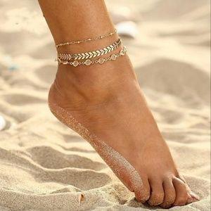 Jewelry - Boho Herringbone Crystal Link Chain Ankle Bracelet